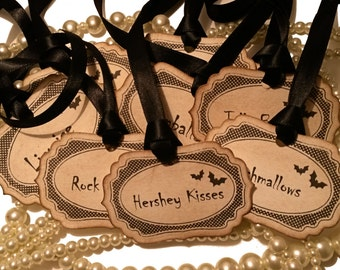 Custom Halloween Tags, Halloween Candy Buffet, Halloween Wedding, Personalized Tags, DIY Tags, Sweet Labels, Tags for Candy, Tags with Bats