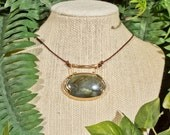 Gold and Copper Labradorite Acacia Necklace in Gold-Filled