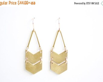 FALL SALE 30% OFF Geometric Double Chevron Earrings - Gold or Silver