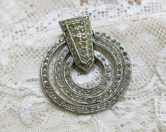 Antique Rhinestone Dress Clip ... Singer & Kantor Pave Rhinestone Dress Clip ... 'swinging circles' ... LB in bell hallmark ... ATJ 80112