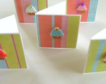 Teeny Tiny Cupcake Mini Cards - Set of 5 Mini Note Cards