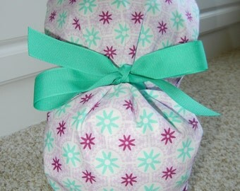 Turn Up Ponytail Scrub Hat with Lavender Raspberry Teal Stars