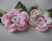 Crochet flowers,Crochet Applique Flowers ,2 pcs,blue,white,yellow,brown,green,red,purple,orange