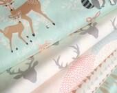 Hello Bear fabric bundle, Deer fabric, Bear fabric, Woodland animals by Bonnie Christine, Art Gallery Fabrics, Bundle of 5- Choose the Cut