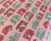Vintage Camper fabric, Metallic fabric, Silver fabric, Camper, Camping, Cotton fabric by the yard, Mini Campers in Pink, Choose your cut