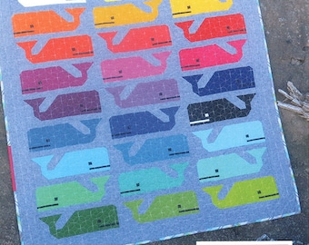 Preppy the Whale Quilt Pattern by Elizabeth Hartman, Whale Quilt, Fabric Shoppe Free Shipping Available