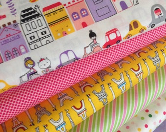 Girl fabric, Paris fabric, Kids fabric, Pink fabric, Oui Oui Paris fabric bundle of 6, Robert Kaufman, Quilting, Sewing, Choose the cut