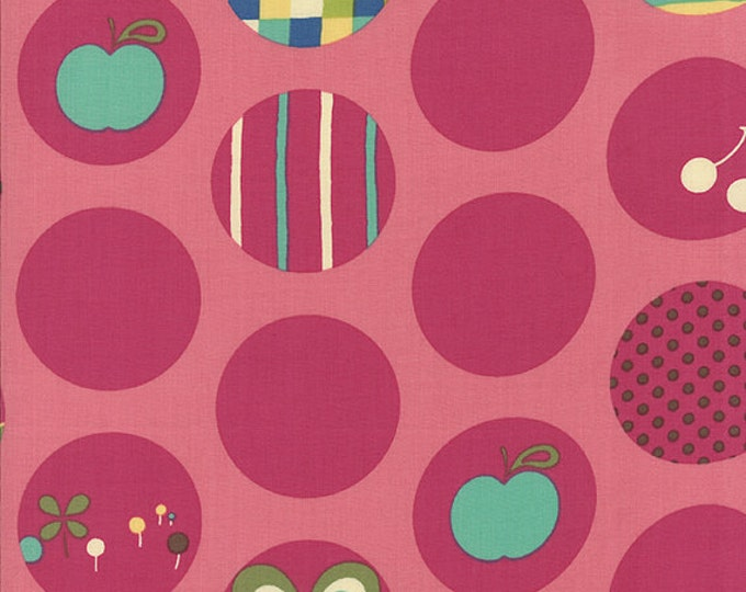 SALE fabric, 6 Dollars per yard, Japanese fabric, Avant Garden by Momo, Circles in Cherry, Pink fabric, Quilt fabric - Buy More and Save