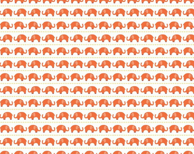 Stretch KNIT fabric, Oh Boy Fabric, Orange fabric, Riley Blake, Jersey Knit, Legging fabric, Stretch fabric- Elephant fabric in Orange