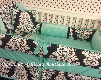 Custom Black & White Damask with Aqua/Teal Accent Boutique Complete/Full 5 Pc Crib Bedding Set