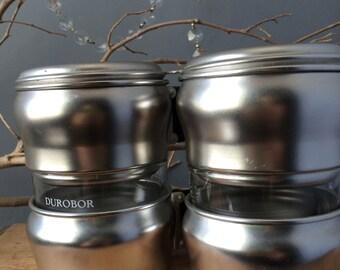 VINTAGE...two vintage glass aluminum coffee presses ~ mid century ~ Belgium ~ office dorm ~ retro