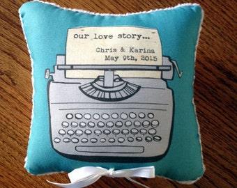 ring bearer pillow, ring bearer pillow alternative, typewriter, rustic wedding