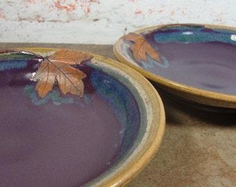 Pair of Pretty Maple Leaf Pasta Bowls