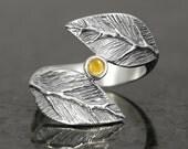 Golden citrine cabochon leaf ring in sterling silver - elf pixie tribal boho