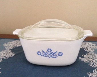 Corning Ware Cornflower Blue 7 inch Casserole Dish with Lid, 1-3/4 Qt