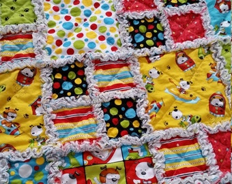 Puppy Rag Quilt, Toddler, Dogs,  Rockets, Space Ship, Planes, Bright Colors, Yellow, Red, Chartreuse, Teal, Toddler Bedding, Ready to Ship