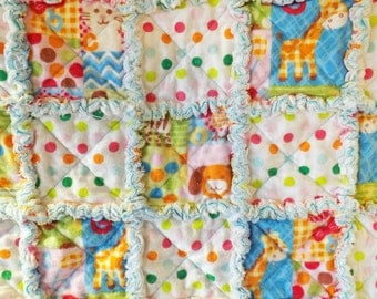 Baby Rag Quilt - Baby Shower Gift - Crib Quilt - Animals and Dots Rag Quilt - Flannel