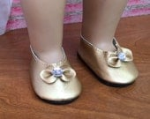 Girl Doll Shoes, Gold Doll Shoes with Rhinestone, Gold Bow Doll Shoes, 18 inch doll shoes, doll accessories, American Doll 18 inch for girl