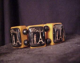 signed jan carlin designer bakelite Eiffel tower Lovers  bracelet