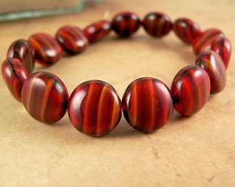 Czech Glass Lentil Red Black Ivory Stripe 10mm Beads (15)
