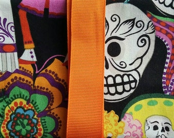 Sugar Skull Black Background w/ Orange Ribbon Tarot Card/Oracle Pouch with Quartz Crystal Reiki Charged