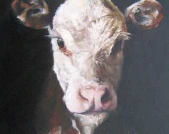 Hereford Calf original Oil Painting, Vermont country art, Archival PRINT of original painting 8 by 10 other sizes available