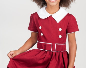 Ready to ship size  5-1950's Style Burgandy Belted Pointed Collar dress children, child retro