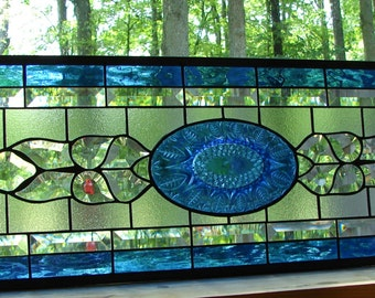 stained glass panel Large Beveled Transom Sapphire Blue