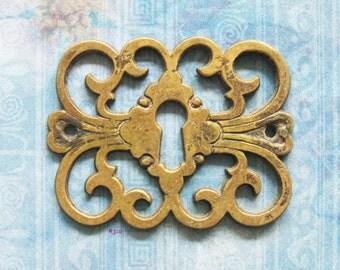 French Filigree Escutcheon Antique Brass Armoire Furniture Keyhole Hardware Wardrobe Skeleton Key Plate