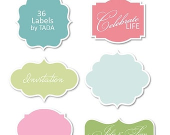 Digital frames clip art clipart Labels for invites, card making, digital scrapbooking -  Pastel