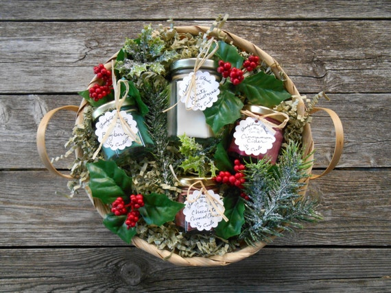 Christmas Gift Basket- White Christmas- Soy Candles- Holly-Candle Gift Basket- Bayberry- Cinnamon Cider-Chocolate Covered Cherries