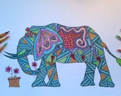 DIY COLORING Page - Instant PDF Digital Download - Printable Coloring Page - Elephant Flower - Elephants - Adults - Children
