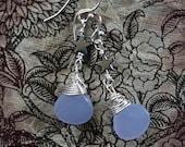 Shining Star -- Lavender Chalcedony sterling silver earrings