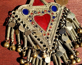 Heart-Shaped Kuchi Tribal Fusion Bohemian Bellydance Pendant