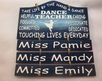 Personalized Wooden Dance Ballet Teacher Painted Wooden Sign With 3 Hanging Name Plates
