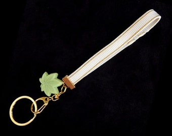Obijime Keychain Wristlet with Wasanbon  Green Maple Leaf