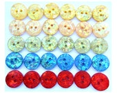 30 Vintage buttons with glitters 15mm, great for button jewelry