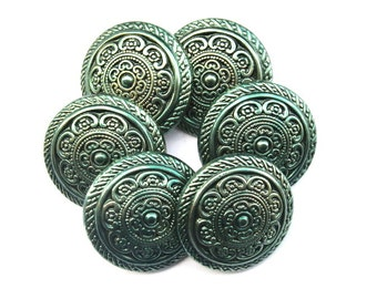 6 Vintage plastic buttons flower design hand painted to green 30mm