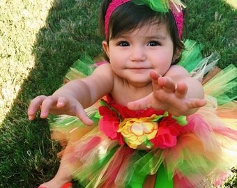 Girl Birthday Luau Outfit - Includes Grass Tutu Skirt & Floral Halter Top - Hawaiian Luau Birthday Party
