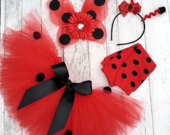 Baby Girl Girl Halloween Costume - Ladybug Tutu Costume - Girl Ladybug Tutu - Tutu, Antenna Headband and Wings