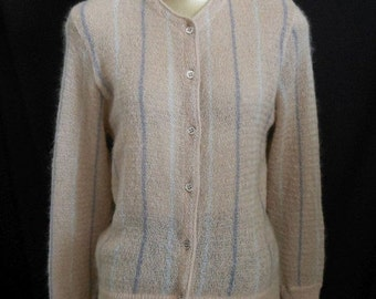 JULY SALE Vintage 60s Mohair Cardigan Sweater, 1960s Tiktiner Cote D'Azur Taupe Intarsia Stripe Jewel Neck, Made in Italy, Size S Small