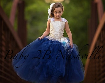 Gold Sequin Dress Flower Girl Dress Navy Dress Tulle Dress Wedding Dress Party Dress  Birthday Dress Toddler Tutu Dress Girls Dress