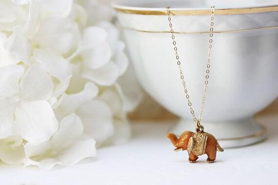 Vintage Tiny Elephant Necklace Elephant Necklace  Vintage Jewelry