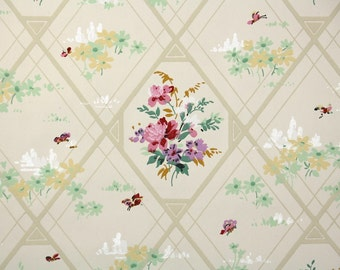 1920s Vintage Wallpaper by the Yard - Antique Floral Wallpaper with Purple and Pink Flowers in Diamaonds
