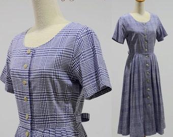 Vintage dress 70s 80s retro mod gingham print hippie boho bohemian style women cotton maxi day sundress summer party button shirt full skirt