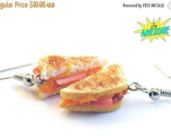 Christmas in July - Ham and Cheese Earrings - Grilled Cheese Earrings - Ham and Cheese - Ham - Cheese - Cheese Lover - Bacon - Sandwich earr