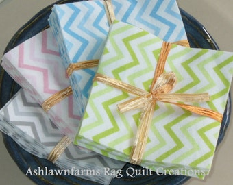 Small Chevron FLANNEL Fabric Squares you pick your colors and size