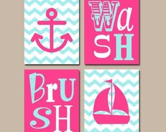 girl bathroom wall art nautical canvas or prints anchor sailboat chevron hot pink