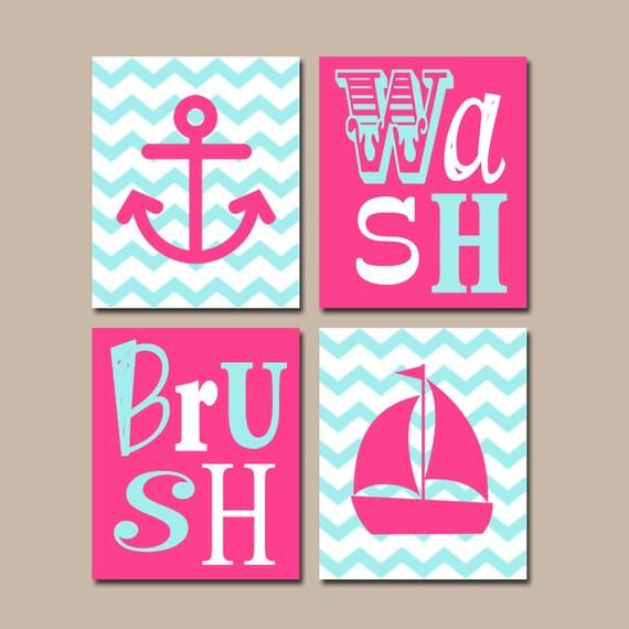Girl Bathroom Canvas Or Prints Hot Pink Aqua BATHROOM Decor
