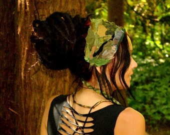 Hippie Headband, Festival Clothing, MOSS GODDESS, Sacred Geometry Headband, Dreadband, OOAK Dread Wrap, Dreadlocks, Intergalactic Apparel